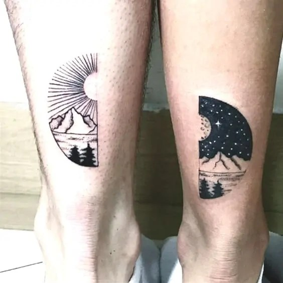 day and night Matching Tattoos For Married Couples