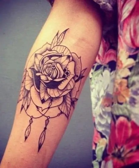 pencil rose temporary Temporary Tattoo Designs