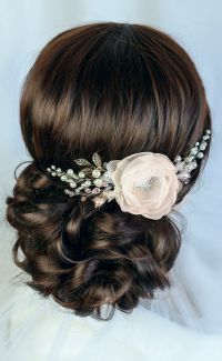 Bridal Hairstyles Inspiration : ivory bridal hair flower ...