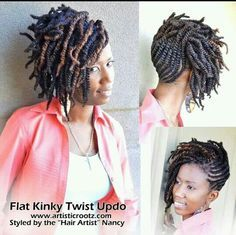 American And African Hair Braiding Flat Kinky Twist Updo