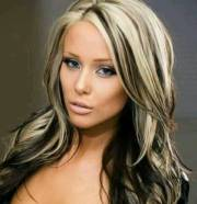 long black hair with blonde highlights