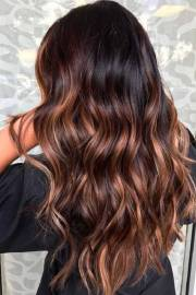 dark brown hair styles with highlights
