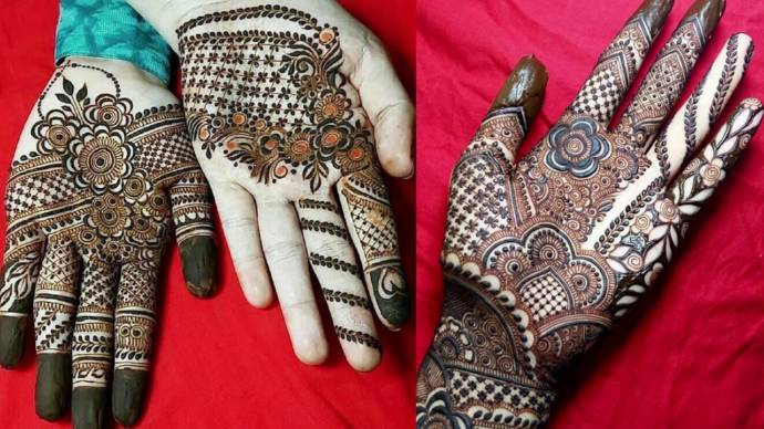 Simple Front Hand Finger Mehndi Design