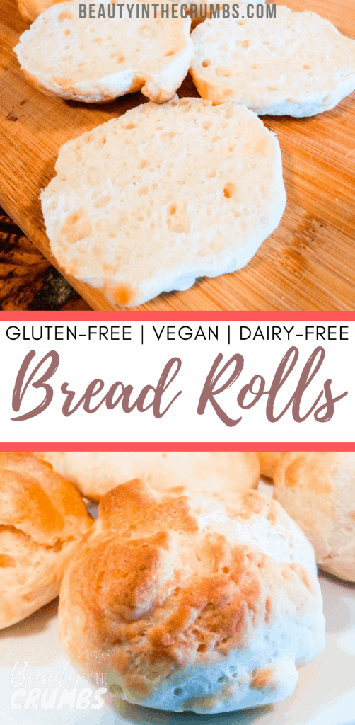 Check out this easy recipe for gluten free, dairy free, and vegan dinner rolls! They're seriously the best and no one will know the difference!  #glutenfreebread #glutenfree #glutenfreerolls #dairyfreerolls #veganrolls #glutenfreeside #bestdinnerrolls