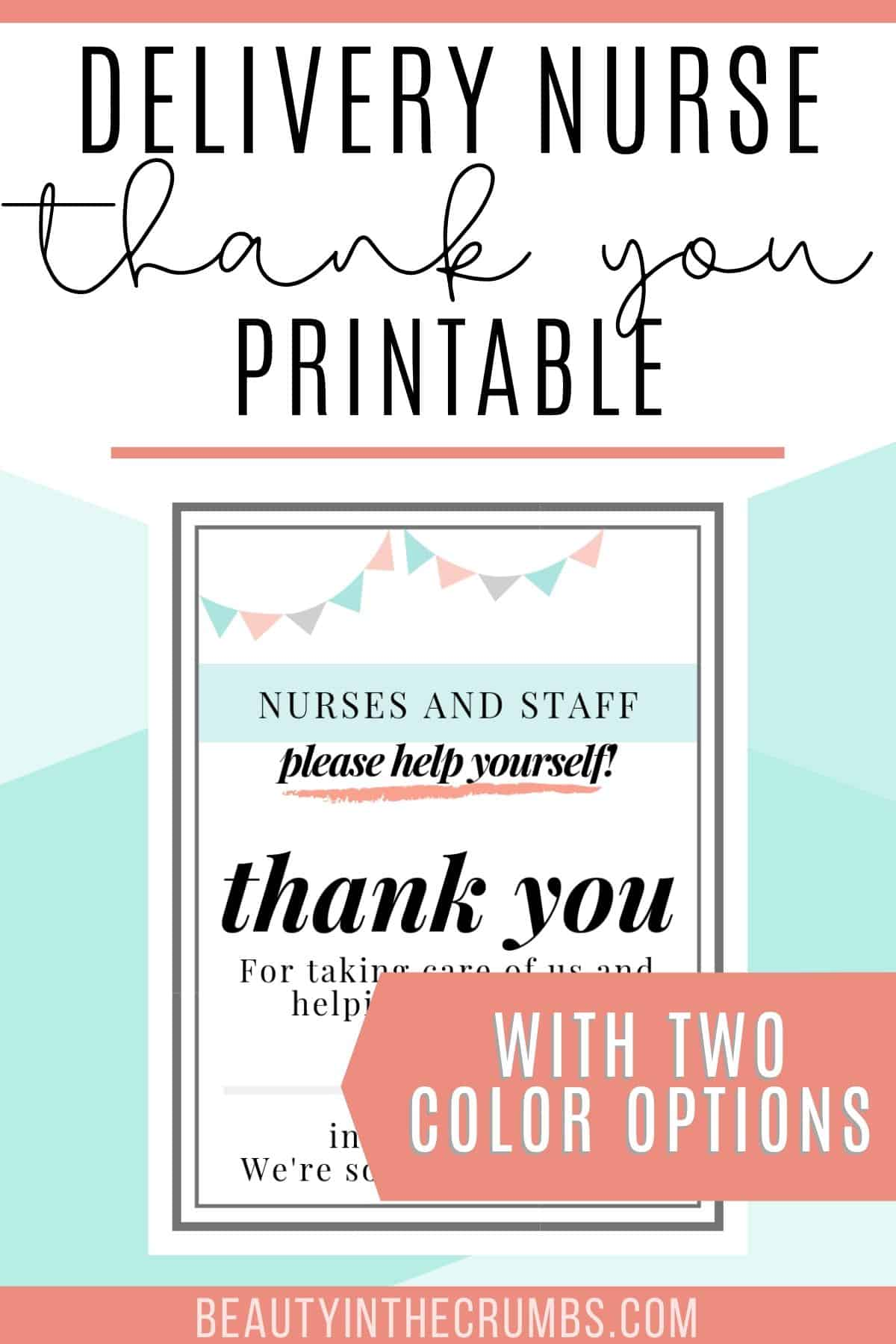 Thank You T For Labor And Delivery Nurses And Staff