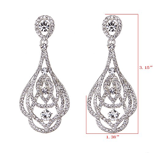 Youfir Bridal Wedding Rhinestone Earrings Dangle for