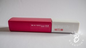 Maybelline Superstay lipstick in shade 15 lover, a brand new product used to verify the integrity of the experiment.