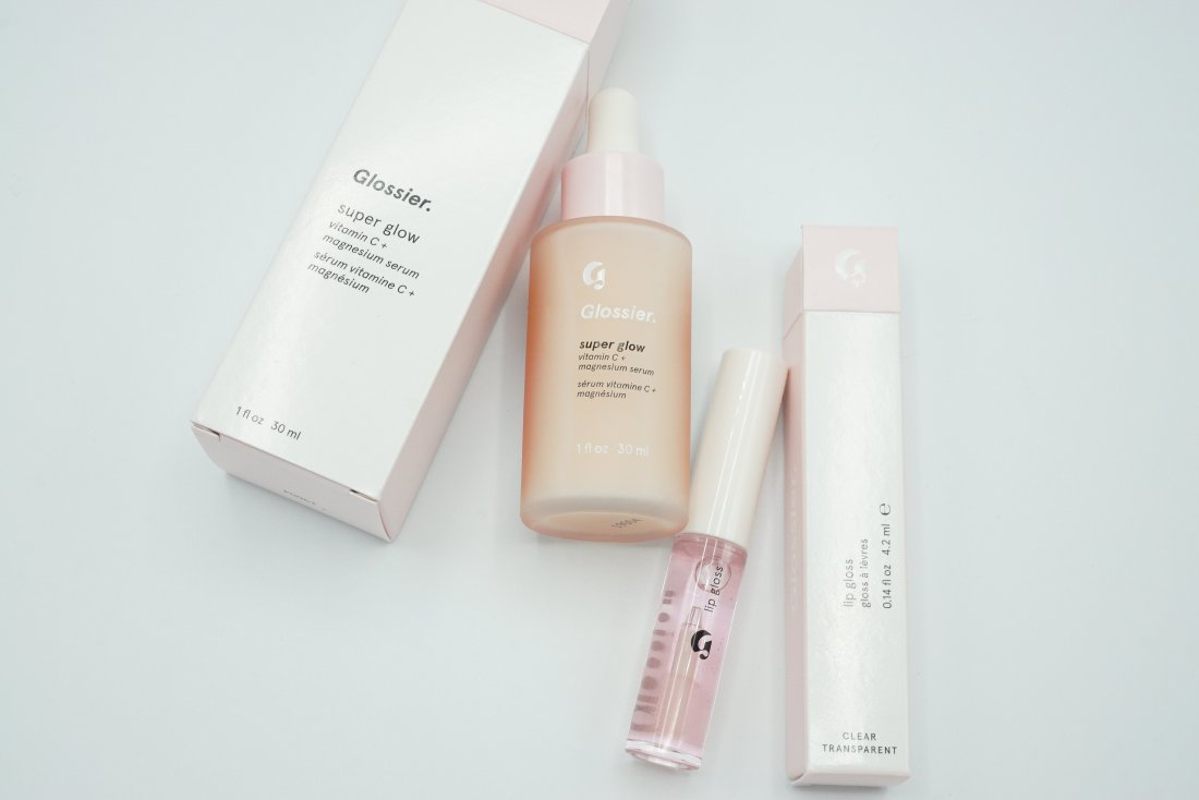 Glossier Products   Glossier Super Glow Vitamin C + Magnesium Serum and Glossier Lipgloss in Clear