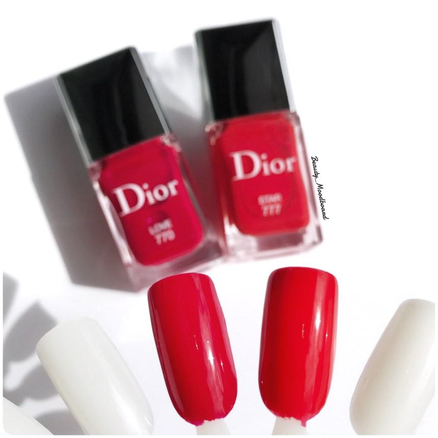 Swatches Dior Vernis Love 770 et Star 777