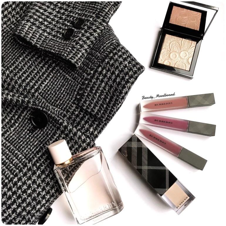 Makeup et parfum Burberry sur manteau prince de Galles Gérard Darel