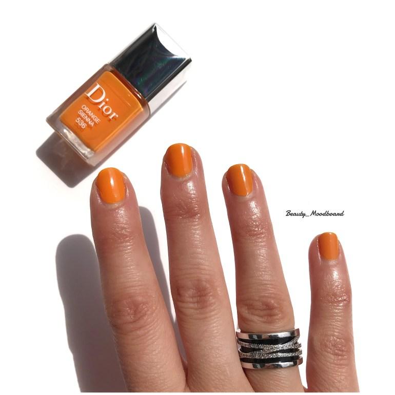 Swatch Vernis Dior Orange Sienna 536 look été 2019