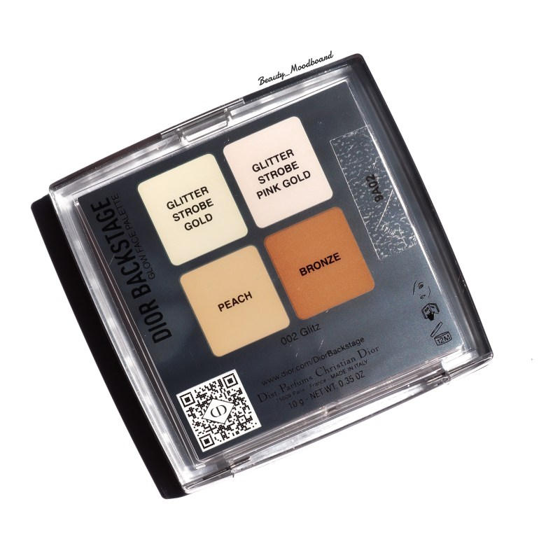 Back of the Glow Face Palette Dior Backstage Glitz 002