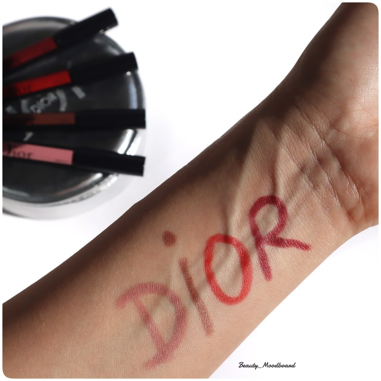 Swatch rouges à lèvres Dior Rouge Graphist Write It 474 Draw It 784 Tag It 824 Shout It 999