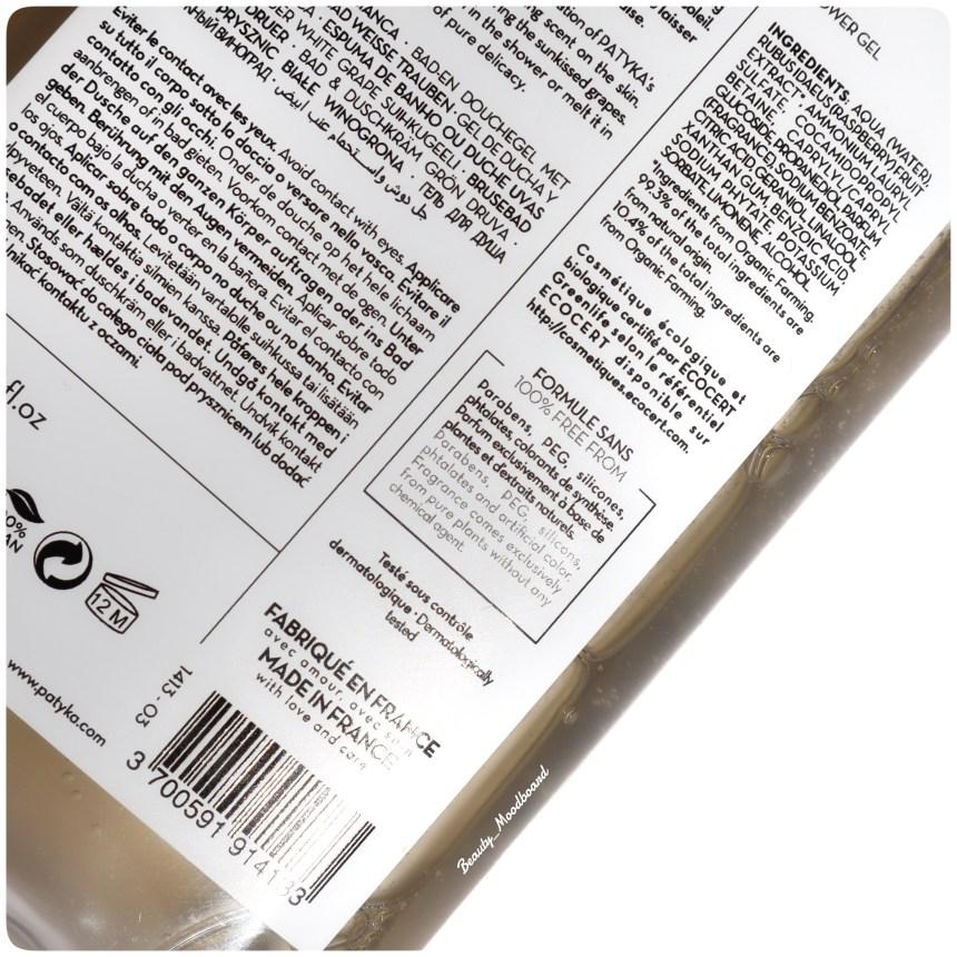 Composition bio et naturelle du gel douche raisin perlé