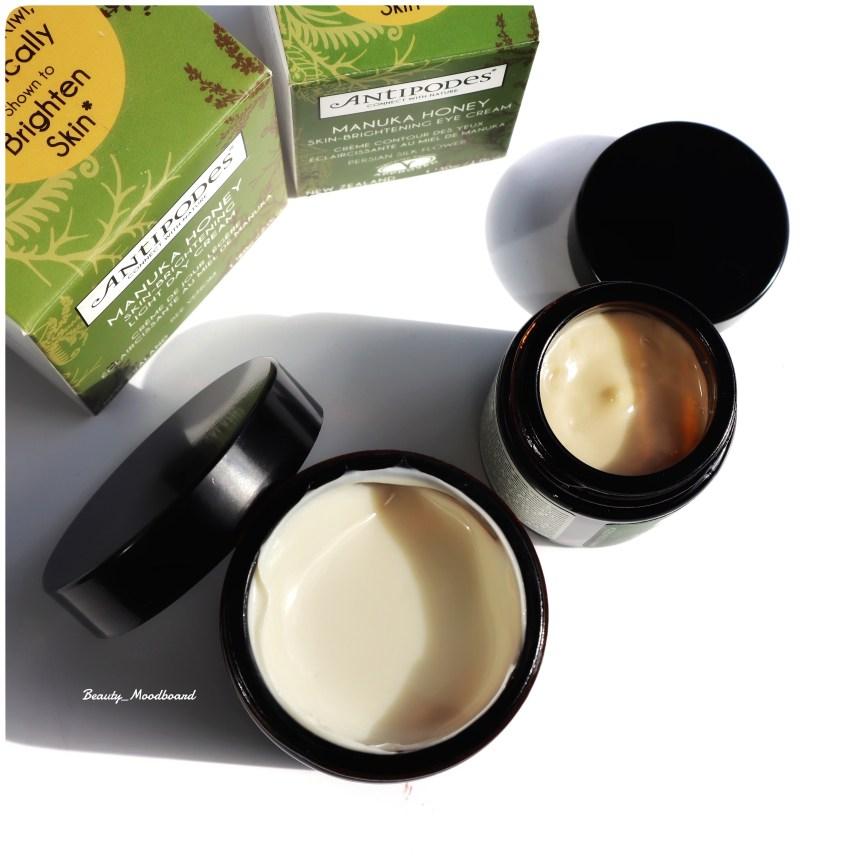 Textures du duo de soins naturels au miel Antipodes pour une peau éclatante