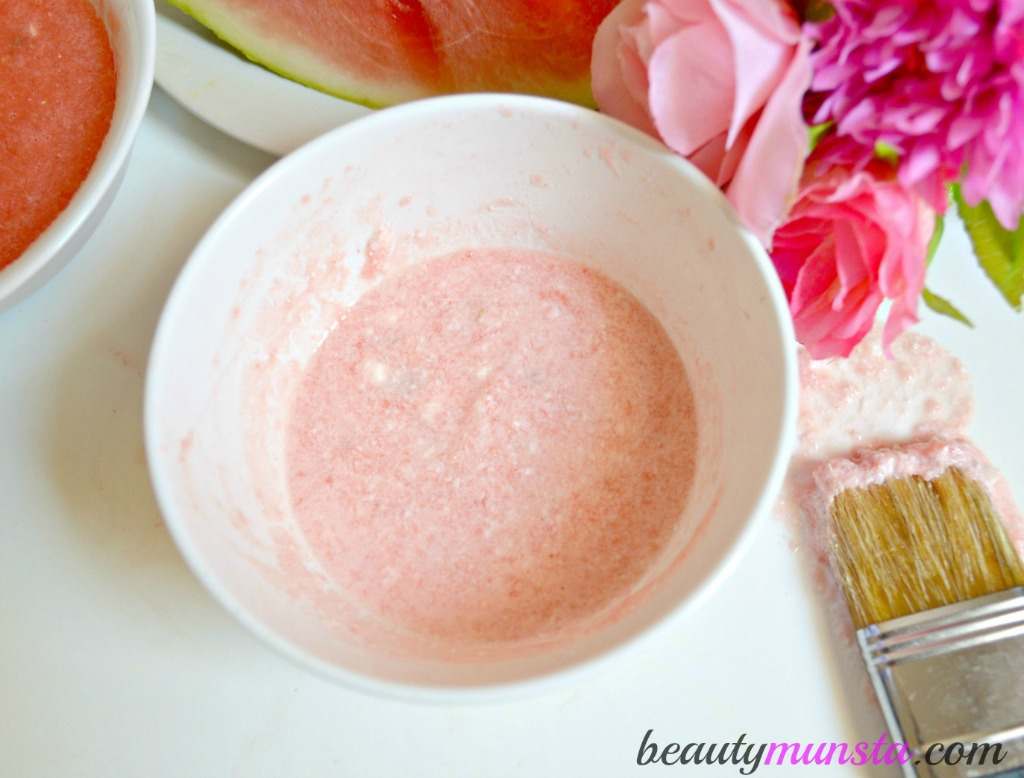 Soothing & Cooling. Your yogurt and watermelon face mask for acne is ready for application!