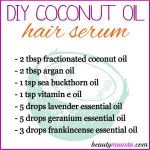 DIY Coconut Oil Hair Serum for Dry Damaged Hair