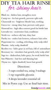 DIY Tea Hair Rinse for Shiny Hair