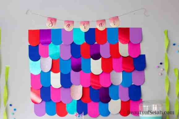 Rainbow Fish Party Scale wall backdrop