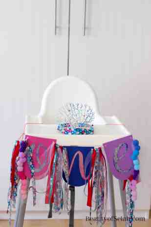 Rainbow Fish Party high chair banner and coral crown