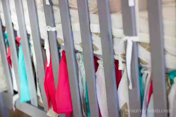 Elegant-Ombre-Herringbone-Nursery fabric scrap crib duster
