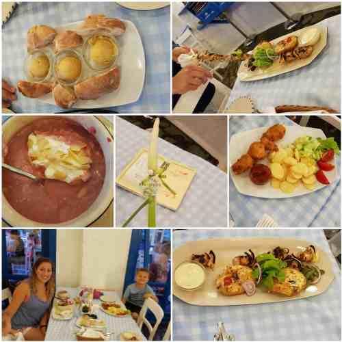 Budapest Taverna Dionysos Dinner, Cherry soup, gyros