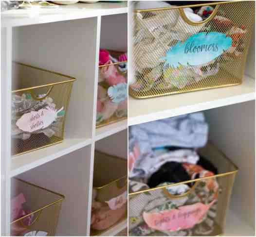 Elegant-Ombre-Herringbone-Nursery custom clothes baskets with labels
