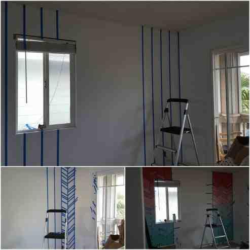 Elegant-Ombre-Herringbone-Nursery process of painting the wall