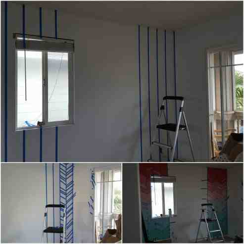 Elegant-Ombre-Herringbone-Nursery process of painting the wall