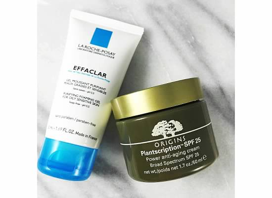 LaRoche Posay Foaming Gel Cleanser and Origins Plantscription Power Anti-Aging Cream Skincare