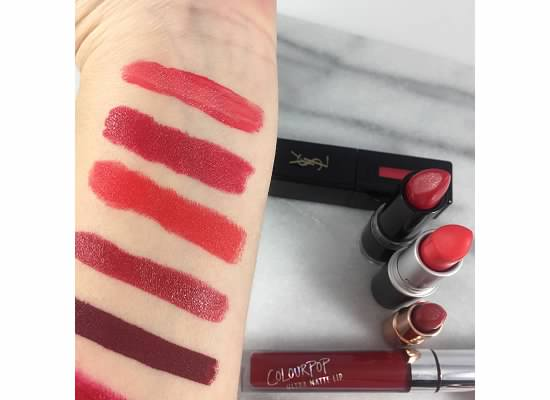 Holiday Makeup Looks - Red Lipstick Swatches