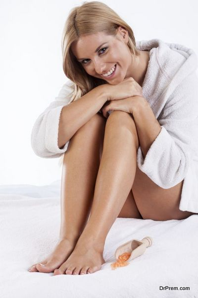 Smiling woman wearing dressing gown
