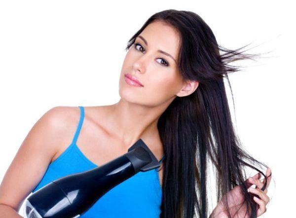 Drying of woman's long hair
