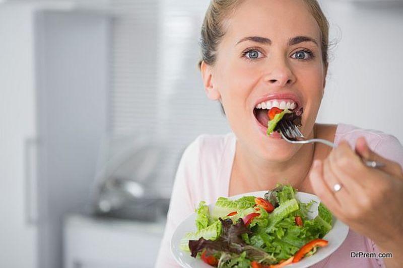 eating leafy green vegetables