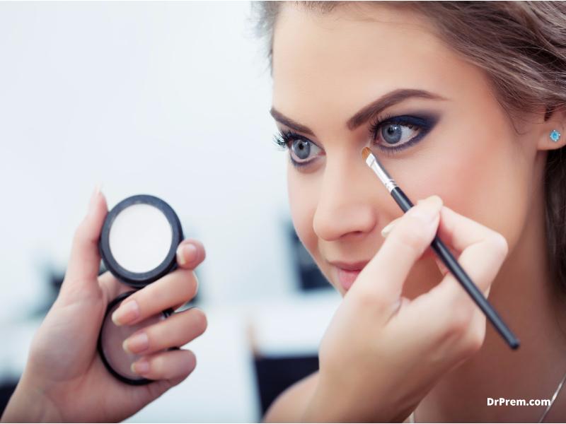 Black eyeliner with a white under eye line