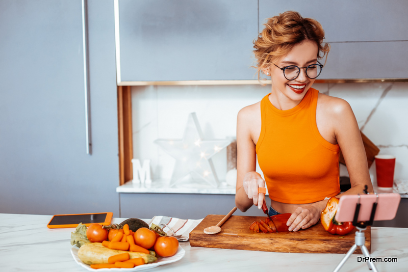 woman preparing meal herself