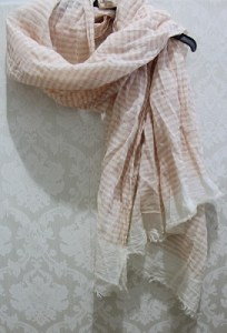 Peach Striped Scarf 100% cotton - AUD$7