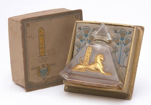 Il flacone originale del profumo Enigma di Lubin degli anni '20
