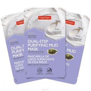 """Purederm Набор """"Двойной уход"""": Отшелушивающий гель, 3 г + Очищающая грязевая маска с экстрактом водорослей и чайного дерева, 10 г"""