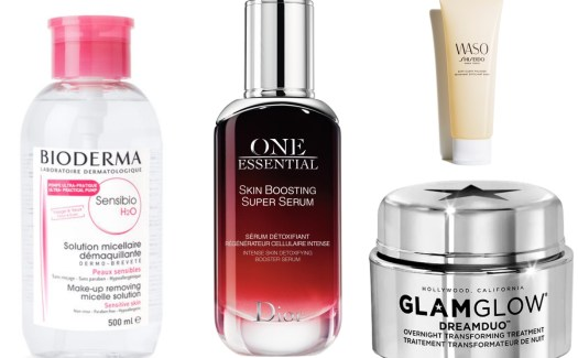 Колаж с продуктите Bioderma Sensibio H2O, dior One Essential Skin Boosting Super Serum, DREAMDUO Overnight Transforming Treatment на glamglow и waso на shiseido