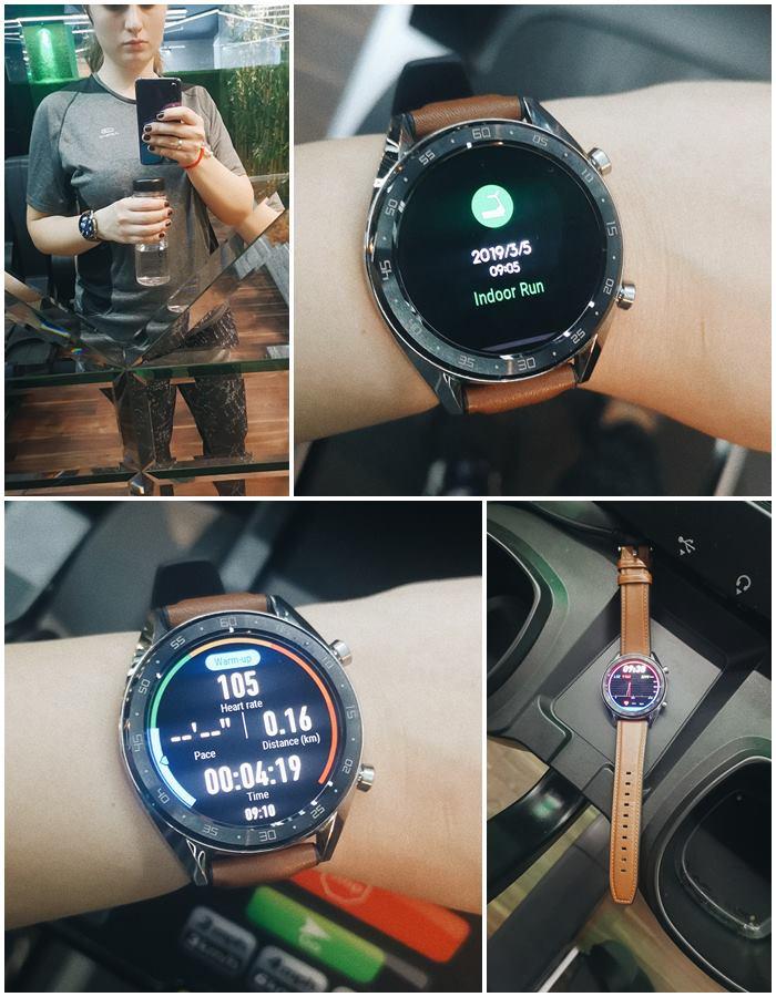 Колаж с Huawei watch gt във фитнес зала.
