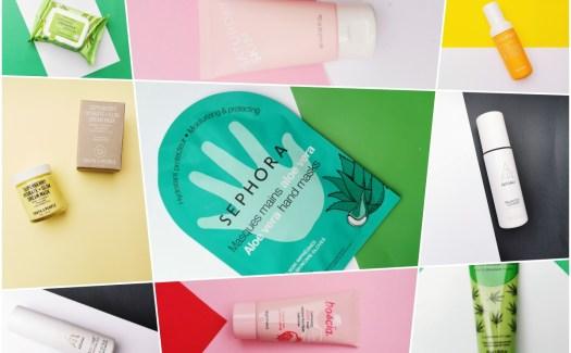Колаж с продукти за грижа за кожата на Sephora.