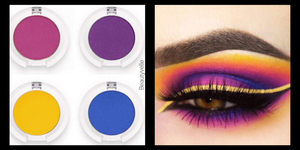 Eyeshadow Looks Yellow Blue Purple Red with Makeup Look