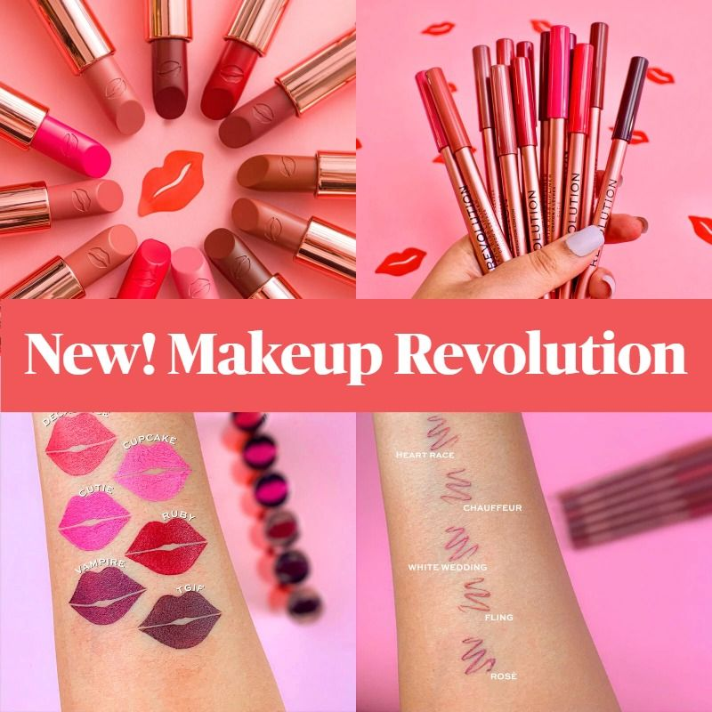 New! Makeup Revolution Satin Kiss Lipsticks and Lipliners