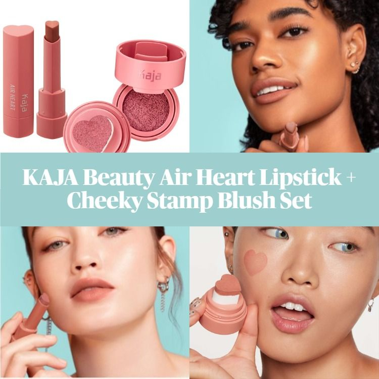New! Kaja Beauty Air Heart Lipstick and Cheeky Stamp Blush Set