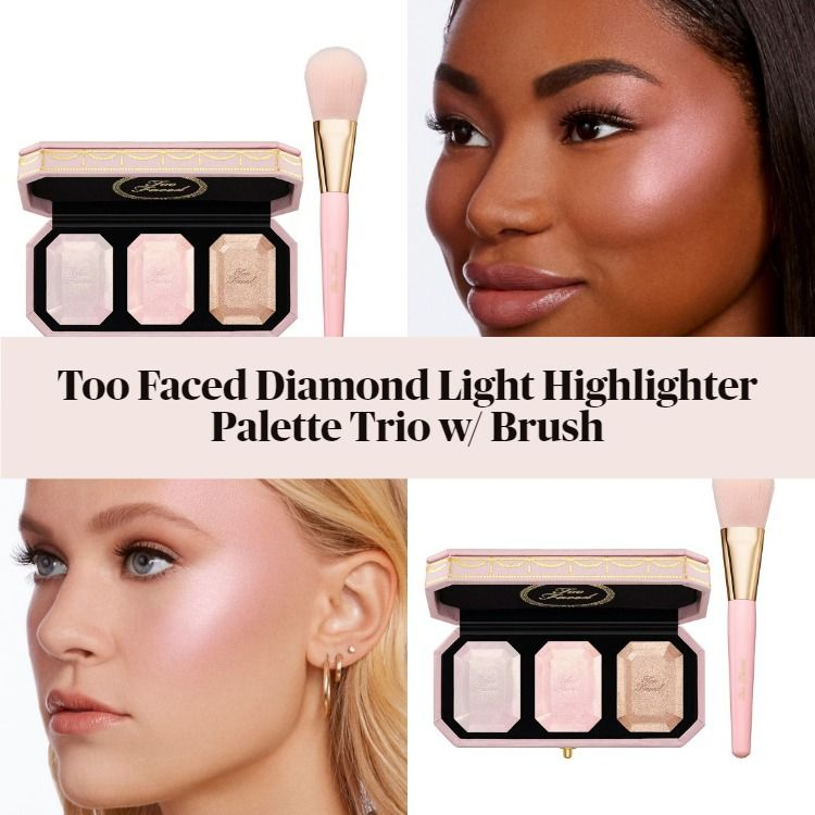 New! Too Faced Diamond Light Highlighter Palette Trio w/ Brush