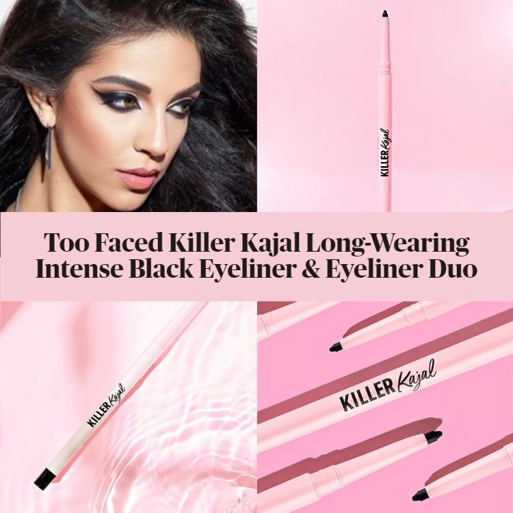 New! Too Faced Killer Kajal Long-Wearing Intense Black Eyeliner & Eyeliner Duo
