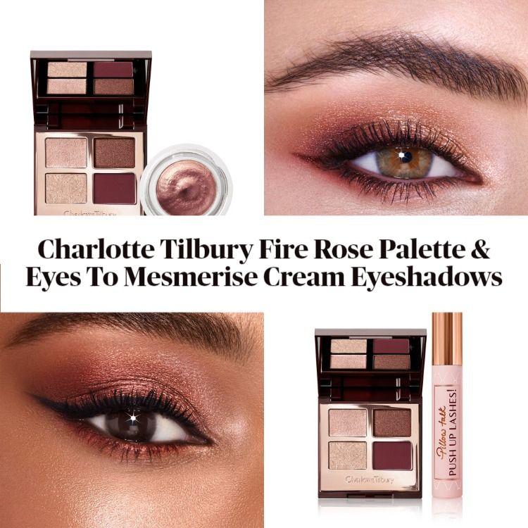 Charlotte Tilbury Fire Rose Luxury Palette & Eyes To Mesmerise Cream Eyeshadows