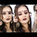 Indian Marriage ceremony Guest Makeup Look / Brown Smokey Look Makeup with Brown Lips / SWATI BHAMBRA