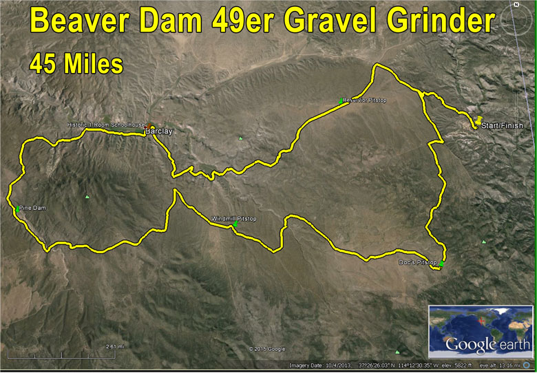 45 mile route Beaver Dam Gravel Grinder in Lincoln County, NV